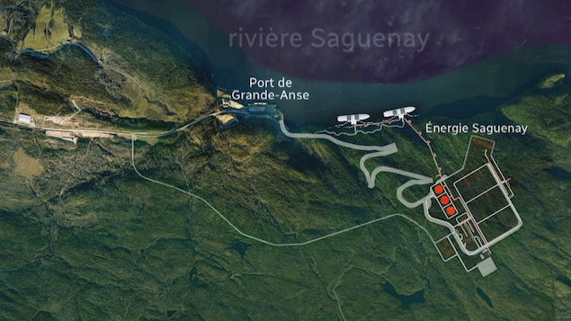 Une carte indiquant l'emplacement projetée de l'usine Énergie Saguenay.