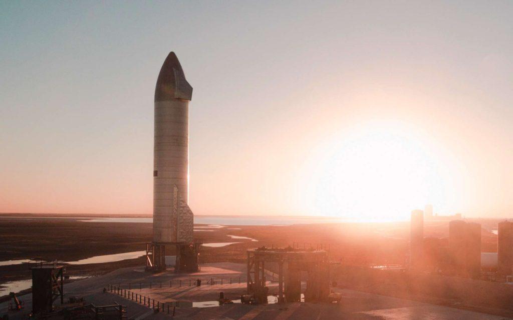 Le prototype SN9 sur le site de Boca Chica au Texas. © SpaceX
