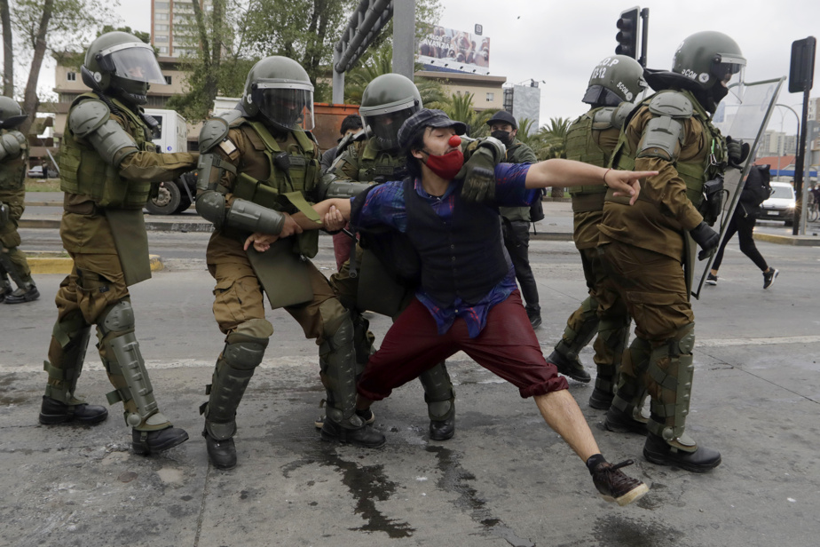 Chile    A police officer in custody after killing a street artist, protests have shaken the country