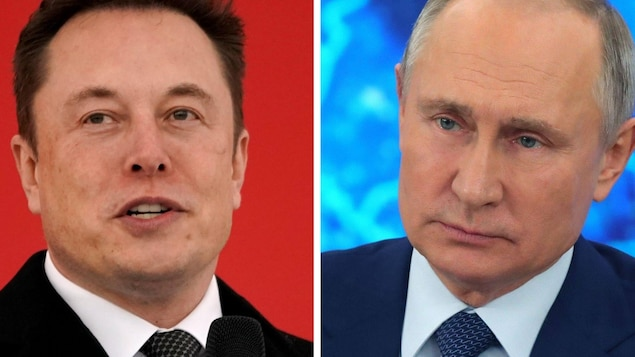 Montage photo mettant côte à côte un portrait d'Elon Musk et un portrait de Vladimir Poutine.