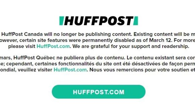 Huffpost Quebec and Huffpost Canada discontinued publication