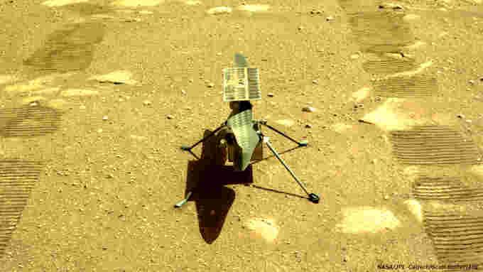 Ingenuity-Closeup-Mars Helicopter-Perseverance-Navcom-April 5-2021-NASA-JPL-Caltech-Essutherland