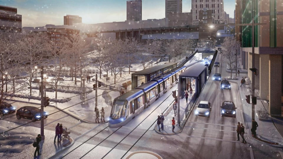 Sketch of a tramway project in Quebec.