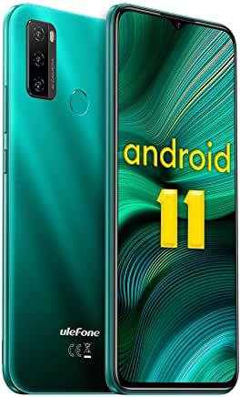 Cheap Unlocked Cell Phone Android 11, 5500 mAh Battery, 32GB + 2GB Octa-Core, 4G Smartphone, 6.52 Inch Display, 8MP AI Triple Fingerprint Camera, Ulephone Note 10 2021 Micro + Nano Dual SIM OTG