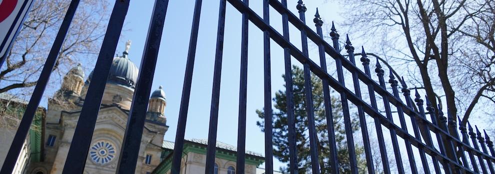 Fence around Dawson College.
