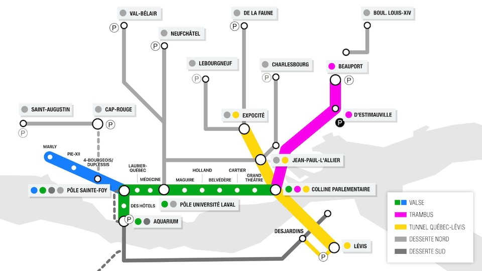 Map of Quebec 21's structured public transport network.