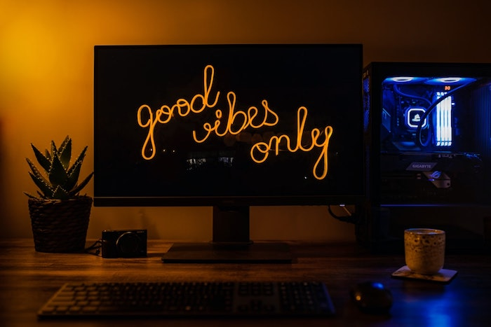 Set of lights to set up a homemade gamer desk play corner for professionals