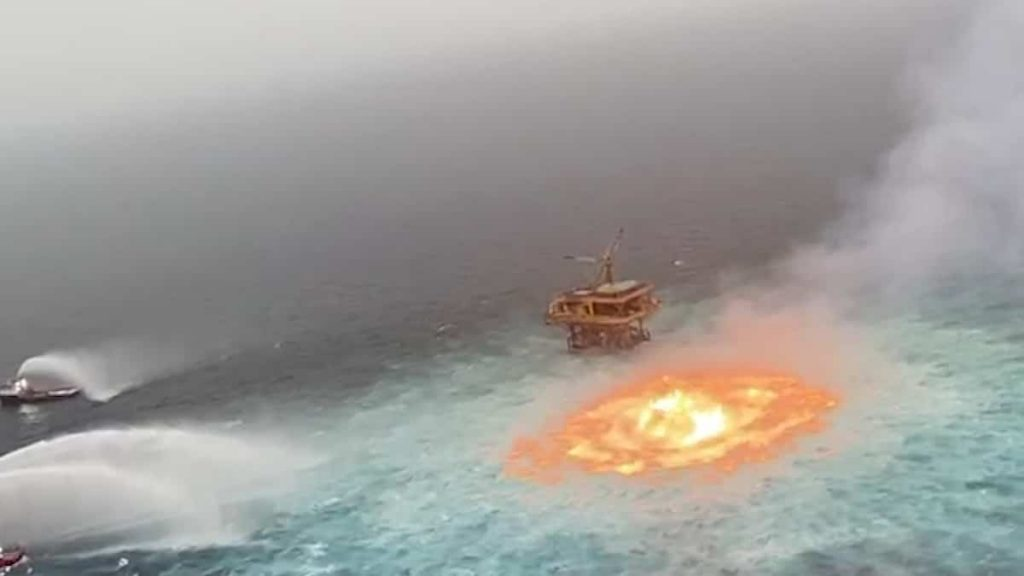 A gas leak can cause fires in the Gulf of Mexico
