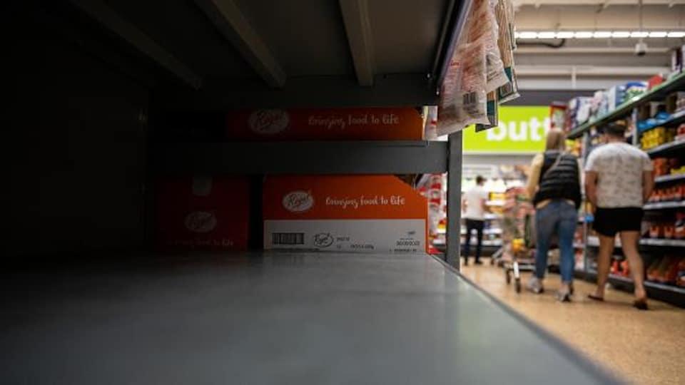 Empty shelf in grocery store.
