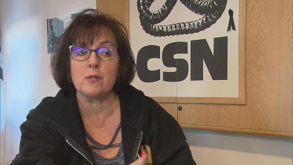 Ann Gingros gives an interview inside a CSN office.