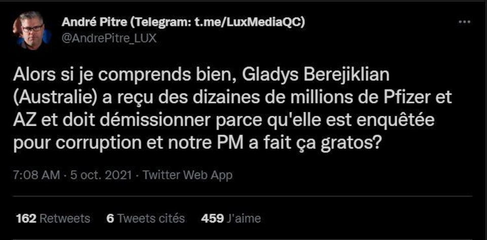 Screenshot of Andre Pitre's tweet stating that Gladys had to resign because she received ten million dollars from Beregilian Pfizer and AstraZeneca.